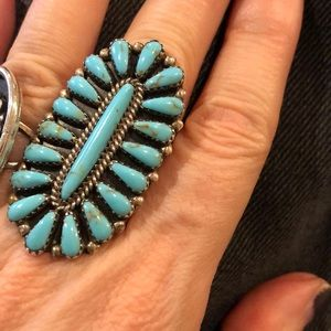 Turquoise and silver vintage statement ring